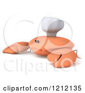 Clipart Of A 3d Sad Orange Crab Chef 2 Royalty Free Illustration