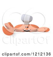 Clipart Of A 3d Orange Crab Chef Over A Sign Royalty Free Illustration