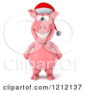 Clipart Of A 3d Christmas Pig Mascot Wearing A Santa Hat Royalty Free Illustration