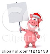 Clipart Of A 3d Christmas Pig Mascot Wearing A Santa Hat And Holding A Sign Royalty Free Illustration