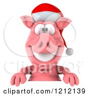Clipart Of A 3d Christmas Pig Mascot Wearing A Santa Hat Over A Sign Royalty Free Illustration