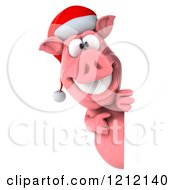 Clipart Of A 3d Christmas Pig Mascot Wearing A Santa Hat And Looking Around A Sign Royalty Free Illustration