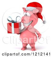 Clipart Of A 3d Christmas Pig Mascot Wearing A Santa Hat And Carrying A Present Royalty Free Illustration