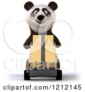 Clipart Of A 3d Panda Pushing Boxes On A Dolly Hand Truck Royalty Free Illustration