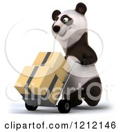 Clipart Of A 3d Panda Pushing Boxes On A Dolly Hand Truck 2 Royalty Free Illustration