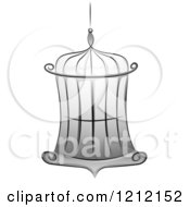 Cartoon Of A Grayscale Whimsical Empty Bird Cage Royalty Free Vector Clipart