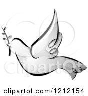 Cartoon Of A Grayscale Whimsical Dove Of Peace With An Olive Branch Royalty Free Vector Clipart
