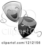 Cartoon Of Grayscale Whimsical Drama Theater Masks And Reflection Royalty Free Vector Clipart