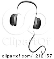 Cartoon Of Grayscale Whimsical Music Headphones Royalty Free Vector Clipart