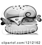 Cartoon Of A Grayscale Cheeseburger And Shadow Royalty Free Vector Clipart by BNP Design Studio