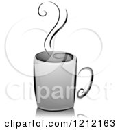 Cartoon Of A Grayscale Steaming Cup Of Coffee Royalty Free Vector Clipart