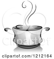 Cartoon Of A Grayscale Steaming Pot Of Soup Royalty Free Vector Clipart