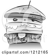 Cartoon Of A Grayscale Stacked Sandwich Royalty Free Vector Clipart by BNP Design Studio