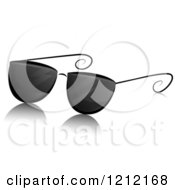 Cartoon Of A Grayscale Whimsical Pair Of Sunglasses And Shadow Royalty Free Vector Clipart