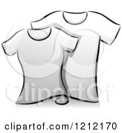 Cartoon Of Grayscale Whimsical His And Hers T Shirts Royalty Free Vector Clipart