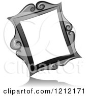 Cartoon Of A Grayscale Whimsical Slanted Vintage Frame And Shadow Royalty Free Vector Clipart