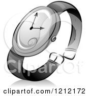 Cartoon Of A Grayscale Whimsical Wrist Watch And Shadow Royalty Free Vector Clipart