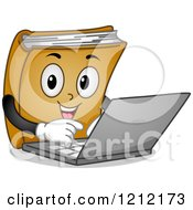 Cartoon Of A Book Mascot Using A Laptop Computer Royalty Free Vector Clipart by BNP Design Studio