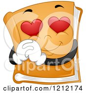 Cartoon Of A Book Mascot With Heart Eyes Royalty Free Vector Clipart