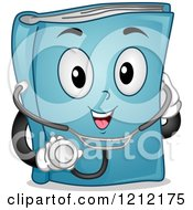 Cartoon Of A Blue Medical Book Mascot With A Stethoscope Royalty Free Vector Clipart