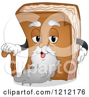 Cartoon Of An Old Book Mascot With A Beard And Cane Royalty Free Vector Clipart