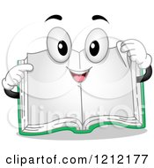 Cartoon Of A Happy Open Book Pointing And Holding A Page Corner Royalty Free Vector Clipart