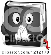 Cartoon Of A Black Prayer Book Holding His Hands Together Royalty Free Vector Clipart
