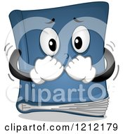 Cartoon Of A Blue Suspense Book Trembling Royalty Free Vector Clipart