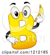 Cartoon Of A Yellow Letter B Holding A Banana Royalty Free Vector Clipart by BNP Design Studio
