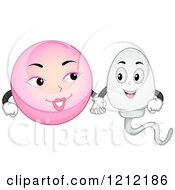 Cartoon Of A Happy Sperm And Egg Holding Hands Royalty Free Vector Clipart by BNP Design Studio