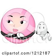 Cartoon Of A Pink Egg Rejecting Sperm Royalty Free Vector Clipart by BNP Design Studio
