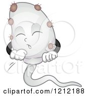 Cartoon Of A Sperm Infected With A Virus Royalty Free Vector Clipart