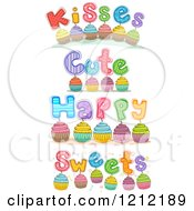 Cartoon Of Colorful Cupcakes With Words Royalty Free Vector Clipart