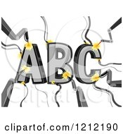 Cartoon Of Lasers Forging ABC Royalty Free Vector Clipart