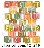 Cartoon Of Stacked Alphabetized Letter Blocks Royalty Free Vector Clipart