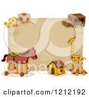 Cartoon Of A Wood Sign And Wooden Toys With Text Space Royalty Free Vector Clipart by BNP Design Studio