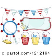 Cartoon Of Nautical Party Elements Royalty Free Vector Clipart by BNP Design Studio