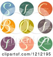 Cartoon Of Colorful Round Beauty Product Icons Royalty Free Vector Clipart by BNP Design Studio