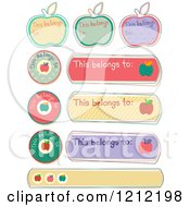 Cartoon Of Apple This Belongs To School Supplies Labels Royalty Free Vector Clipart by BNP Design Studio