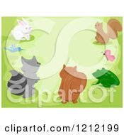 Cartoon Of Cute Woodland Animals Gathered Over Green Royalty Free Vector Clipart by BNP Design Studio