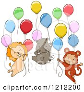 Cartoon Of Cute Party Lion Hippo And Monkey Animals Floating With Balloons Royalty Free Vector Clipart by BNP Design Studio