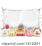 Cartoon Of Birthday Party Animals Under A Banner Sign Royalty Free Vector Clipart by BNP Design Studio