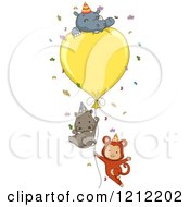 Cartoon Of A Party Monkey Hippo And Rhino With A Giant Balloon And Confetti Royalty Free Vector Clipart
