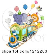 Cartoon Of A Party Train With An Elephant Zebra Lion Giraffe And Toucan And Balloons Royalty Free Vector Clipart