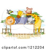Cartoon Of A Blank Sign With Zoo Animals Royalty Free Vector Clipart by BNP Design Studio