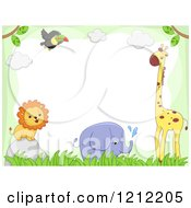 Cartoon Of A Boder Of A Toucan Giraffe Elephant And Lion With Grass Royalty Free Vector Clipart by BNP Design Studio