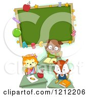 Cartoon Of A Cute Student Cat Dog And Fox Under A Classroom Chalk Board Royalty Free Vector Clipart