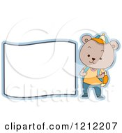 Cartoon Of A Male Student Bear With A Blank Label Royalty Free Vector Clipart
