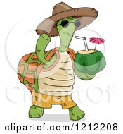 Cartoon Of A Tortoise Wearing A Hat Waving And Carrying A Coconut Drink Royalty Free Vector Clipart by BNP Design Studio