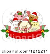 Cartoon Of A Red Christmas Banner With Holly And Festive Animals Royalty Free Vector Clipart